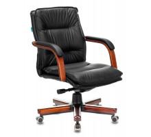 Кресло руководителя Бюрократ T-9927WALNUT-LOW черный кожа низк.спин. крестовина металл/дерево