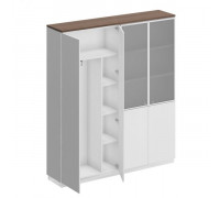 Шкаф комбинированный (документы со стеклом - одежда с дополнением) City СИ 312