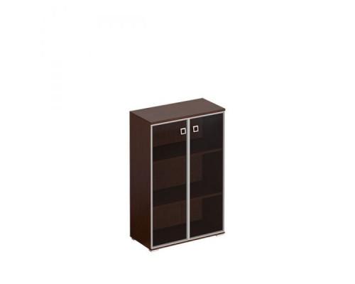 Шкаф для документов средний со стеклянными тонированными дверьми в рамке Cosmo КС 301