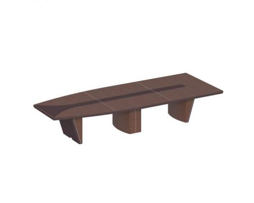 Стол для переговоров полуовальный, дерево/кожа, металлическая вставка ISixty 420TAPE