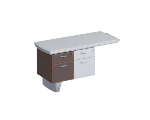 Тумба 2-ящ. (один ящик-картотека) для боковой приставки, дерево, кож. фасады, мет. ручки ISixty СEX33
