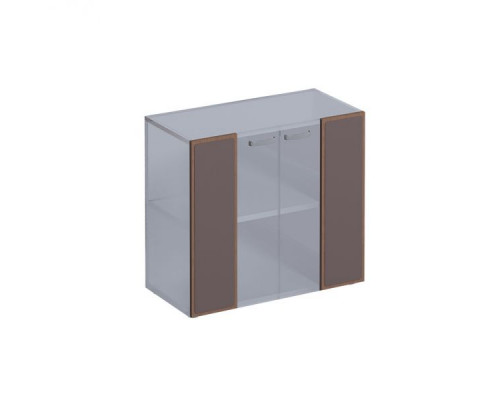 Двери из прозрачного стекла со вставкой из кожи, с металл.ручками ISixty TT120/90