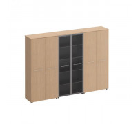 Шкаф комбинированный высокий (закрытый + стекло + закрытый) Reventon МЕ 374