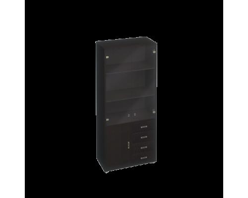 Шкаф для документов, кожаные фасады ящиков/тонированные двери Дуглас КМ-10128Т