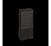 Шкаф для документов, кожаные фасады ящиков/пескоструйные двери Дуглас КМ-10128П