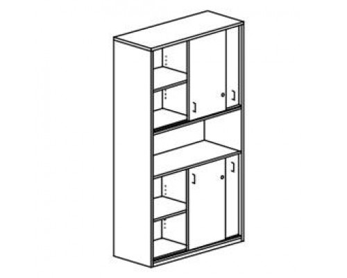 Шкаф с раздвижными дверьми, с замками Orgspace F8602