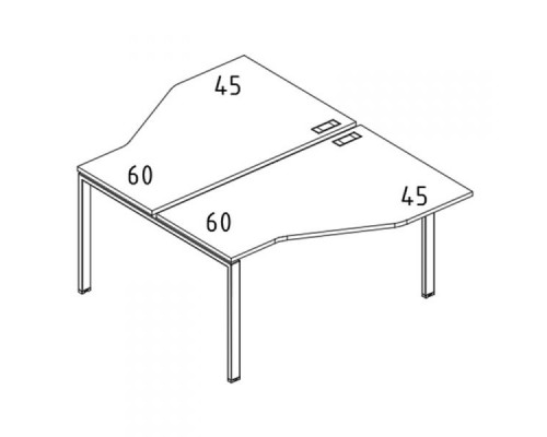"Рабочая станция со столами эргономичными ""Техно"" на металлокаркасе UNO (2х160) A4 Б1 188 БП"