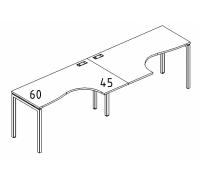 """Рабочая станция со столами эргономичными """"Классика"""" на металлокаркасе DUE (2х140) A4 Б2 033-2 БП"""