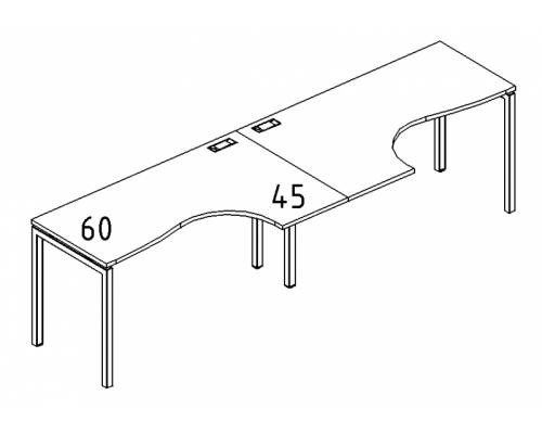"""Рабочая станция со столами эргономичными """"Классика"""" на металлокаркасе DUE (2х120) A4 Б2 031-2 БП"""