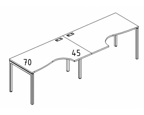 """Рабочая станция со столами эргономичными """"Классика"""" на металлокаркасе DUE (2х120) A4 Б2 041-2 БП"""
