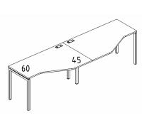 """Рабочая станция со столами эргономичными """"Техно"""" на металлокаркасе DUE (2х120) A4 Б2 051-2 БП"""