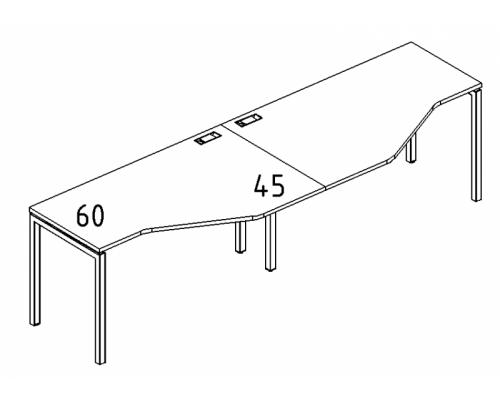 """Рабочая станция со столами эргономичными """"Техно"""" на металлокаркасе DUE (2х140) A4 Б2 053-2 БП"""