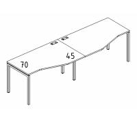 """Рабочая станция со столами эргономичными """"Техно"""" на металлокаркасе DUE (2х160) A4 Б2 065-2 БП"""
