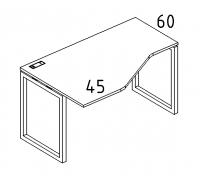 "Стол эргономичный левый ""Техно"" на металлокаркасе QUATTRO A4 Б4 055 БП"