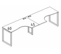 """Рабочая станция со столами эргономичными """"Классика"""" на металлокаркасе QUATTRO (2х120) A4 Б4 031-2 БП"""