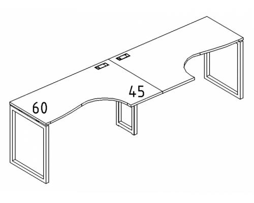 """Рабочая станция со столами эргономичными """"Классика"""" на металлокаркасе QUATTRO (2х160) A4 Б4 035-2 БП"""
