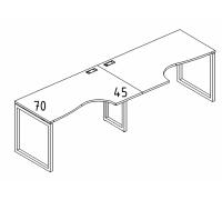 """Рабочая станция со столами эргономичными """"Классика"""" на металлокаркасе QUATTRO (2х160) A4 Б4 045-2 БП"""