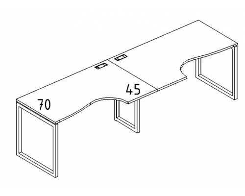 """Рабочая станция со столами эргономичными """"Классика"""" на металлокаркасе QUATTRO (2х140) A4 Б4 043-2 БП"""