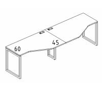"""Рабочая станция со столами эргономичными """"Техно"""" на металлокаркасе QUATTRO (2х120) A4 Б4 051-2 БП"""