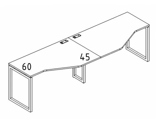 """Рабочая станция со столами эргономичными """"Техно"""" на металлокаркасе QUATTRO (2х160) A4 Б4 055-2 БП"""