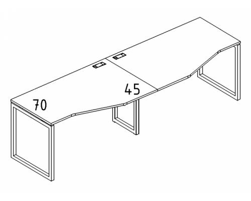 """Рабочая станция со столами эргономичными """"Техно"""" на металлокаркасе QUATTRO (2х120) A4 Б4 061-2 БП"""