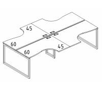 """Рабочая станция со столами эргономичными """"Классика"""" на металлокаркасе QUATTRO (4х120) A4 Б4 180-2 БП"""