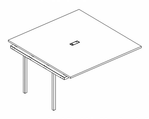 Секция стола для переговоров на металлокаркасе DUE A4 Б2 134-1 БП
