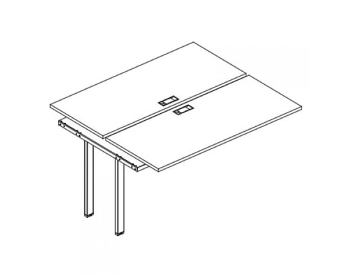 Секция стола рабочей станции на металлокаркасе UNO (2х140) A4 Б1 171-1 БП