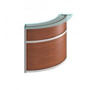 Модуль стойки ресепшн со стеклом 90 градусов изогнутой наружу (без опор) Матрица ФС 0703