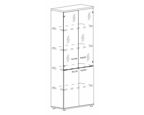 Шкаф для документов со стеклянными прозрачными дверьми Albero А4 9379