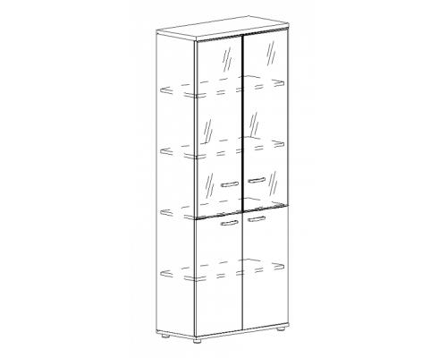 Шкаф для документов со стеклянными дверьми в алюминиевой рамке Albero А4 9380