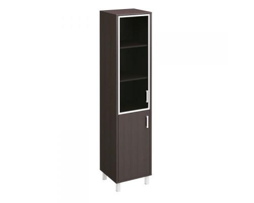 Шкаф для документов левый, двери стеклянная в алюминиевой раме + ДСП без замка Борн В 431-813