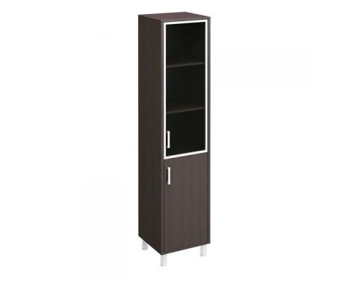 Шкаф для документов правый, двери стеклянная в алюминиевой раме + ДСП без замка Борн В 431-814