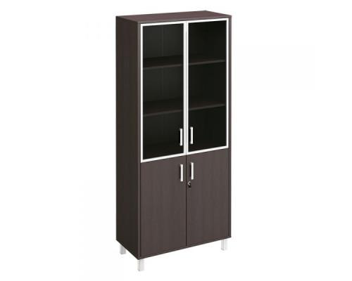 Шкаф для документов двери стеклянные в алюминиевой рамке + ДСП с замком Борн В 430-822-1