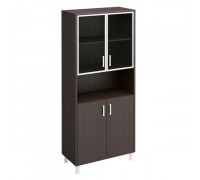Шкаф для документов двери стеклянные в алюминиевой рамке + ДСП без замка + ниша Борн В 430-823