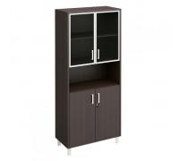 Шкаф для документов двери стеклянные в алюминиевой рамке + ДСП с замком + ниша Борн В 430-823-1